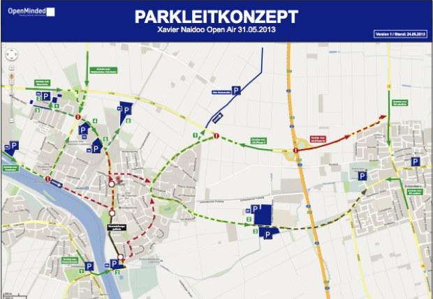 Das Parkleitkonzept zum Xavier-Naidoo-Konzert. Quelle: Stadt Ladenburg