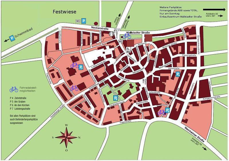 Parklätze zum Altstadtfest. Quelle: Stadt Ladenburg