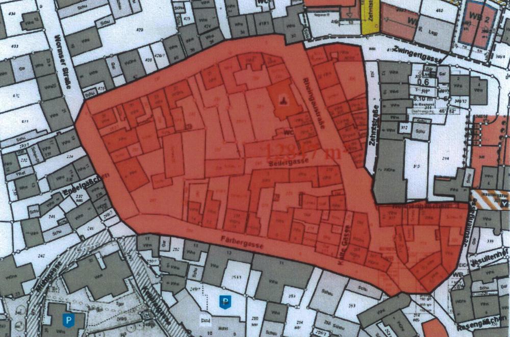 In dem rot markierten Bereich soll der Bebauungsplan gelten.