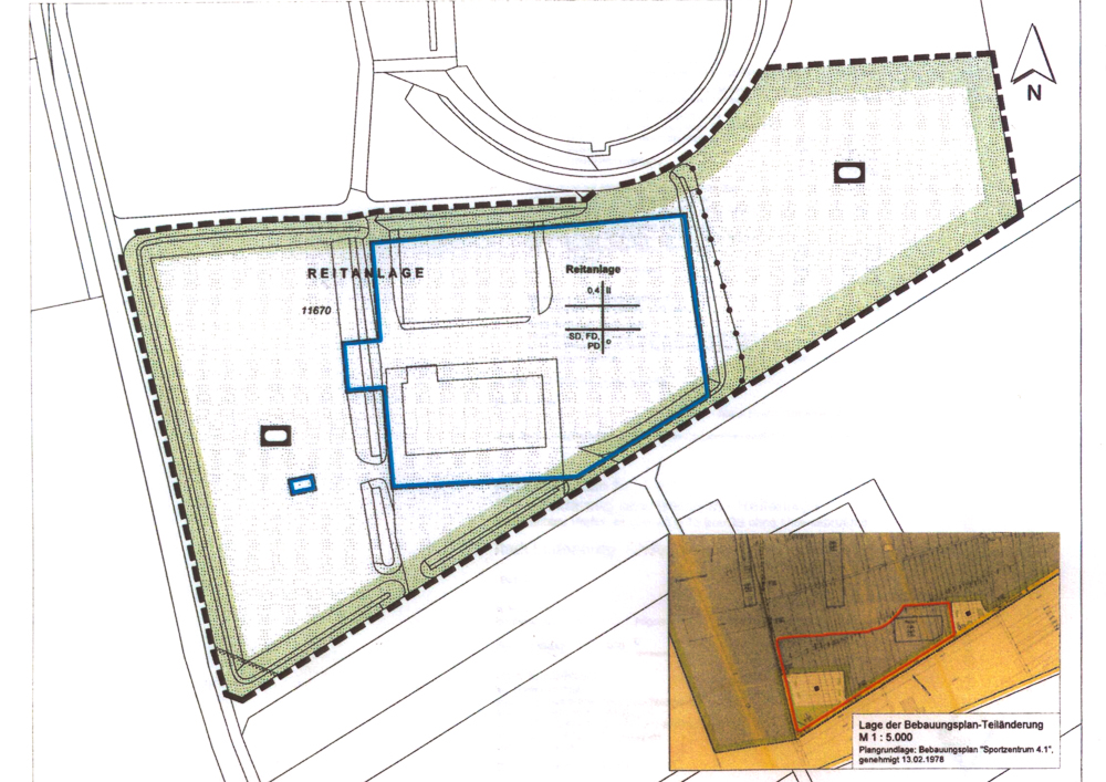 In dem blau umrandeten Gebiet soll das neue Reitsportzentrum entstehen.